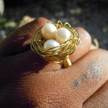 Fresh Water Pearl Bird Nest Ring